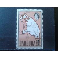Барбуда 1970 Карта острова Надпечатка 20 на 1/2** Полная серия