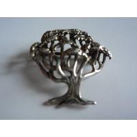 """Брошь-подвеска из серебра"""" Дерево жизни"""" 825 проба. Винтаж. Германия.2,5х2,5 см."""