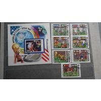 Футбол, спорт, марки, Танзания, чемпионат мира 1994, космос, техника, архитектура, стадионы, флаги, 7 марок и блок