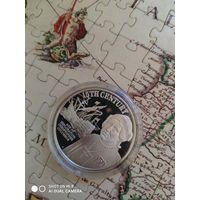 Острова Кука 50 долларов, серебро, 1997 г. Исследователь Колумб.