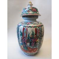 Большая антикварная ваза фарфор с крышкой Китай