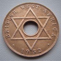 """Британская Западная Африка.  1/2 пенни 1952 год KM#27a """"Король Георг VI"""""""