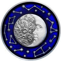 """RARE Ниуэ 5 доллара 2017г. """"Небесные тела: Луна"""". Монета в капсуле; деревянном подарочном футляре; номер монеты на гурте; сертификат; коробка. СЕРЕБРО 62,20гр.(2 oz)."""