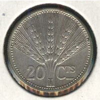 Уругвай 20 сентисимо 1954 г. Серебро.