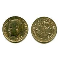 Гаити 5 центов 1958 КМ#62 Президент Дювалье