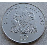 """Танзания. 10 шиллингов 1993 год  KM#20a  """"Президент Джулиус Ньерере"""""""