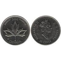 Канада 25 центов 2000 Гармония UNC