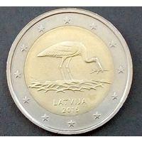 Латвия.2 евро 2015 года (Аист)