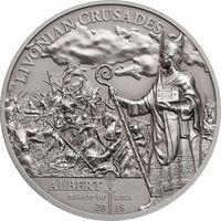 """Острова Кука 5 долларов 2018г. """"Северные крестовые походы: Ливонский крестовый поход"""". Монета в капсуле; подарочном футляре; номерной сертификат; коробка. СЕРЕБРО 31,135гр."""