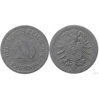 YS: Германия, Рейх, 10 пфеннигов 1876D, KM# 4
