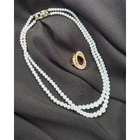 Бусы, ожерелье, Trifari, 40см, стекло