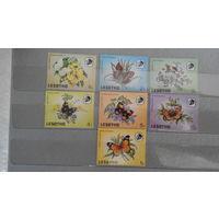 Бабочки, фауна, флора, цветы, марки, Лесото, 1984