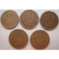 ЮАР 20 центов 1993, 1994, 1995, 1997, 1999 гг. Цена за 1 шт. (g)