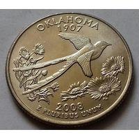 25 центов, квотер США, штат Оклахома, P  D