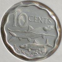 Багамы/ Багамские острова, 10 центов 2007 года, необычная форма, рыбы, состояние UNC, KM#219
