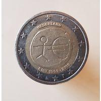 2 евро Нидерланды 2009 10 лет Экономическому и Валютному союзу
