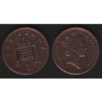 Великобритания _km935 1 пенни 1990 год (обращ) (h01)