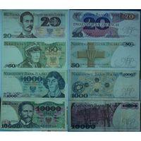Польша 10000,1000,50,20 злотых 1982-1988 4 шт UNC,XF,VF
