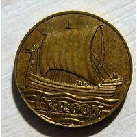 Эстония 1 крона 1990 г. Драккар! Латунь, диаметр 15 мм. R.