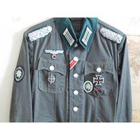 3 Рейх. Форма М36 майора Вермахта горно-стрелковых и егерских частей (летняя, ткань дриллих) с наградами (Копии).