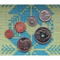 Папуа Новая Гвинея 1, 2, 5, 10, 20 тойя; 1 куна, UNC. Фауна. Крокодилы.