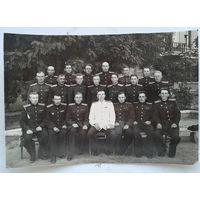 Фото офицеров артиллерийской воинской части (командир - полковник Падалко Ф.П.) 1940-е. Группа советских оккупационных войск в Германии. На обороте список. 14х20 см..