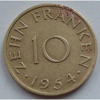 Германия - Протекторат Саар 10 франков. 1954