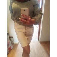 Бело кремовая юбка экокожа фирмы  asos р. 42-44