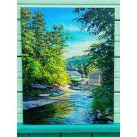 """Картина """"Лесной пейзаж с рекой"""""""