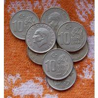 Турция 10 тысяч Лир. Толстые, красивые монеты.Новогодняя распродажа! Подписывайтесь на мои лоты!