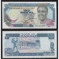 Распродажа коллекции. Замбия. 10 квача 1989(91) года (P-31b - 1989-1991 ND Issue)