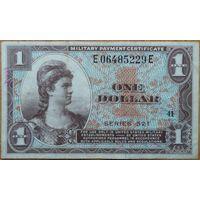США 1 доллар 1954 г. VF военный сертификат, серия 521, KL#M33