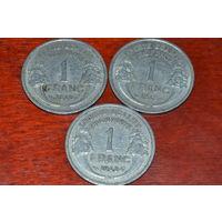 1 франк 1949 Франция KM# 885a.1 алюминий
