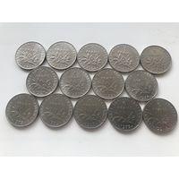 Франция 1 франк - погодовка без повторов