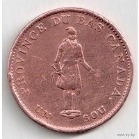 1/2 пенни Канада  1837
