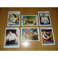 Куба 1977 год. Живопись Хорхе Арче. Серия 6 марок