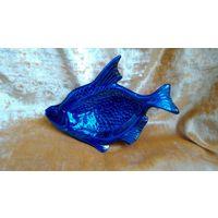 Рыба, рыбка. Тарелка ссср, редкая рыбка кобальт с позолотой,  рыба Дулево 1957 г.