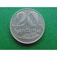 Латвия 20 сантимов 1922 год.