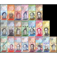 Распродажа!!! Венесуэла. Набор 21 банкнота. 2013-2018 гг. UNC. (с 1 рубля)