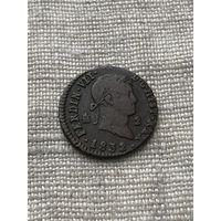 Испания 2 мараведи 1832 г. , редкая