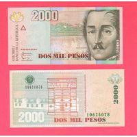 Банкнота Колумбия 2000 песо 2014 UNC ПРЕСС