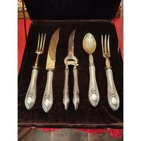 Ложки Вилки Нож разделочный серверовочный набор Серебро кость