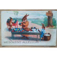 Импортная пасхальная открытка. Кролики. Подписана