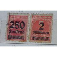 Надпечатки с новыми номиналами в тысячах или миллионах марок. Германский Рейх. Дата выпуска:1923-09-20