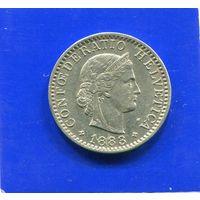 Швейцария 20 раппен 1883