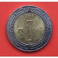 68-28 Мексика, 1 песо 2014 г. Единственное предложение монеты данного года на АУ