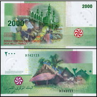 Коморские о-ва 2000 франков 2005 UNC