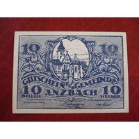 10 геллеров 1921 год Австрия Анцбах