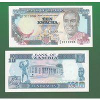 Банкнота Замбия 10 квача 1989-91 UNC ПРЕСС