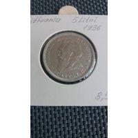 Литва 5 литов 1936 серебро
